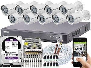 Kit CFTV Hikvision 10 Câmeras THC-B120C-P e DVR de 16 Canais DS-7216 HQHI-K1 1TB WD Purple