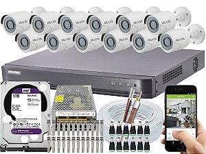 Kit CFTV Hikvision 12 Câmeras THC-B120C-P e DVR de 16 Canais DS-7216 HQHI-K1 1TB WD Purple