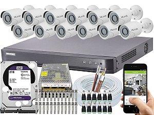 Kit CFTV Hikvision 12 Câmeras THC-B120C-P e DVR de 16 Canais DS-7216 HQHI-K1 2TB WD Purple