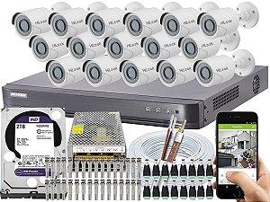 Kit CFTV Hikvision 16 Câmeras THC-B120C-P e DVR de 16 Canais DS-7216 HQHI-K1 2TB WD Purple