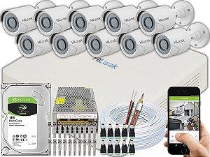 Kit CFTV Hilook 10 Câmeras THC-B120C-P e DVR de 16 Canais DVR-116G-F1