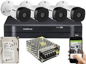Kit CFTV Intelbras 04 Câmeras VHD 1010 B G5 e DVR de 04 Canais MHDX 1104 500GB Sem Cabo