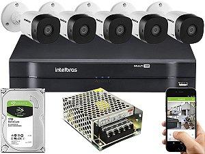 Kit CFTV Intelbras 05 Câmeras VHD 1010 B G5 e DVR de 08 Canais MHDX 1108 Sem Cabo