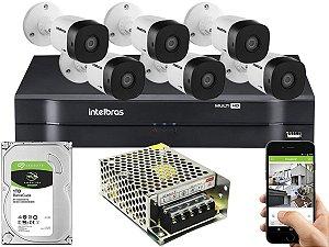 Kit CFTV Intelbras 06 Câmeras VHD 1010 B G5 e DVR de 08 Canais MHDX 1108 Sem Cabo