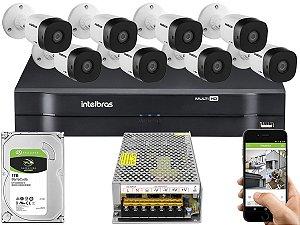 Kit CFTV Intelbras 08 Câmeras VHD 1010 B G5 e DVR de 08 Canais MHDX 1108 Sem Cabo