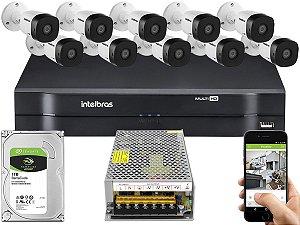Kit CFTV Intelbras 10 Câmeras VHD 1010 B G5 e DVR de 16 Canais MHDX 1116 Sem Cabo