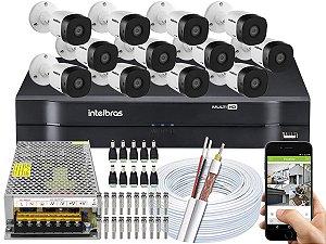 Kit CFTV Intelbras 12 Câmeras VHD 1010 B G5 e DVR de 16 Canais MHDX 1116 Sem HD