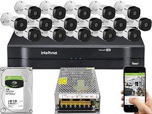 Kit CFTV Intelbras 16 Câmeras VHD 1010 B G5 e DVR de 16 Canais MHDX 1116 Sem Cabo