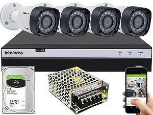 Kit CFTV Intelbras 04 Câmeras VHD 1220 B G4 e DVR de 04 Canais MHDX 3104 S/ C
