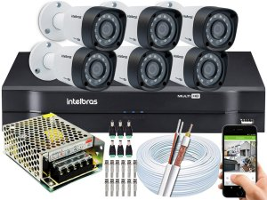 Kit CFTV Intelbras 06 Câmeras VHD 1220 B G4 e DVR de 08 Canais MHDX 1108 S/ HD