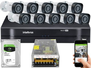 Kit CFTV Intelbras 10 Câmeras VHD 1220 B G4 e DVR de 16 Canais MHDX 1116 S/ C