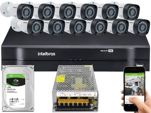 Kit CFTV Intelbras 12 Câmeras VHD 1220 B G4 e DVR de 16 Canais MHDX 1116 S/ C