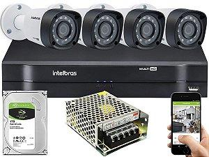 Kit CFTV Intelbras 04 Câmeras VHD 3230 B G4 e DVR de 04 Canais MHDX 1104 Sem Cabo
