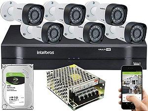 Kit CFTV Intelbras 06 Câmeras VHD 3230 B G4 e DVR de 08 Canais MHDX 1108 Sem Cabo