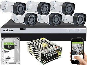 Kit CFTV Intelbras 06 Câmeras VHD 3230 B G4 e DVR de 08 Canais MHDX 3108 Sem Cabo