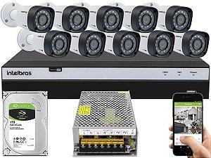Kit CFTV Intelbras 10 Câmeras VHD 3230 B G4 e DVR de 16 Canais MHDX 3116 Sem Cabo
