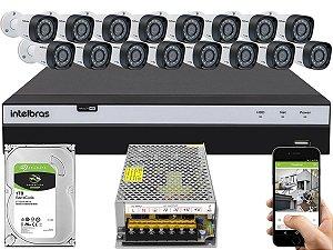 Kit CFTV Intelbras 16 Câmeras VHD 3230 B G4 e DVR de 16 Canais MHDX 3116 Sem Cabo