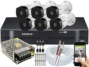 Kit CFTV Intelbras 06 Câmeras VHL 1220 B e DVR de 08 Canais MHDX 1108 S/ HD