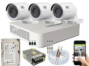 Kit CFTV JFL 03 Câmeras CHD-2230P e DVR de 04 Canais DHD-3304 500GB