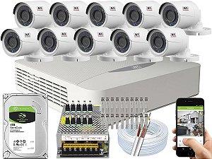 Kit CFTV JFL 10 Câmeras CHD-2230P e DVR de 16 Canais DHD-3316