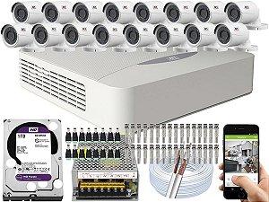 Kit CFTV JFL 16 Câmeras CHD-2230P e DVR de 16 Canais DHD-3316 1TB WD Purple