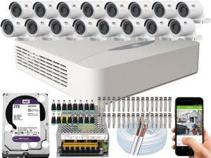 Kit CFTV JFL 16 Câmeras CHD-2230P e DVR de 16 Canais DHD-3316 2TB WD Purple