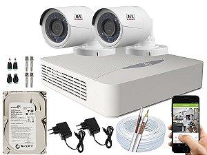 Kit CFTV JFL 02 Câmeras CHD-2230P e DVR de 04 Canais DHD-3304 500GB