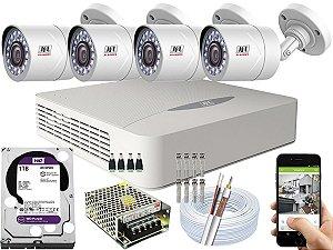 Kit CFTV JFL 04 Câmeras CHD-2110P e DVR de 04 Canais DHD-3304 1TB WD Purple