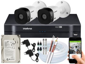 Kit CFTV Intelbras 02 Câmeras VHL 1220 B e DVR de 04 Canais MHDX 1104 500GB