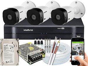 Kit CFTV Intelbras 03 Câmeras VHL 1220 B e DVR de 04 Canais MHDX 1104 500GB