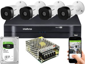 Kit CFTV Intelbras 04 Câmeras VHL 1220 B e DVR de 04 Canais MHDX 1104 Sem Cabo