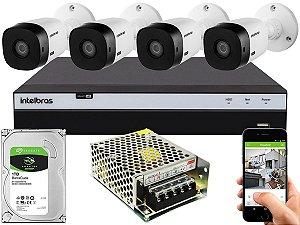 Kit CFTV Intelbras 04 Câmeras VHL 1220 B e DVR de 04 Canais MHDX 3104 Sem Cabo