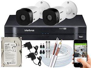 Kit CFTV Intelbras 02 Câmeras VHL 1120 B e DVR de 04 Canais MHDX 1104 500GB