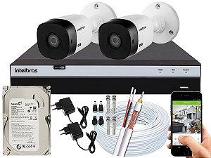 Kit CFTV Intelbras 02 Câmeras VHL 1120 B e DVR de 04 Canais MHDX 3104 500GB