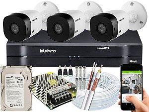 Kit CFTV Intelbras 03 Câmeras VHL 1120 B e DVR de 04 Canais MHDX 1104 500GB