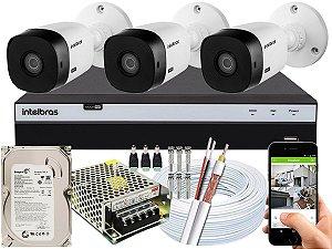 Kit CFTV Intelbras 03 Câmeras VHL 1120 B e DVR de 04 Canais MHDX 3104 500GB