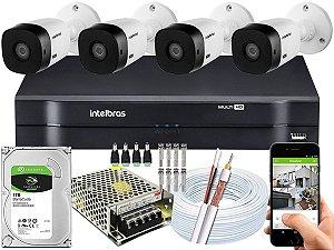 Kit CFTV Intelbras 04 Câmeras VHL 1120 B e DVR de 04 Canais MHDX 1104 1TB