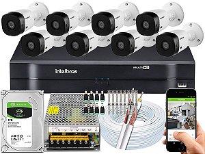 Kit CFTV Intelbras 08 Câmeras VHL 1120 B e DVR de 08 Canais MHDX 1116