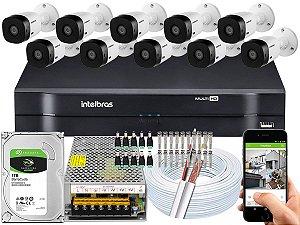 Kit CFTV Intelbras 10 Câmeras VHL 1120 B e DVR de 16 Canais MHDX 1116