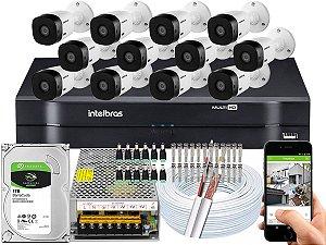 Kit CFTV Intelbras 12 Câmeras VHL 1120 B e DVR de 16 Canais MHDX 1116