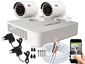 Kit CFTV JFL 02 Câmeras CHD-1230P e DVR de 04 Canais DHD-2104N Sem HD