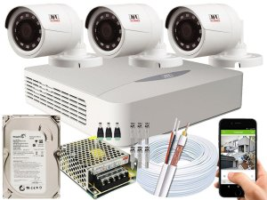 Kit CFTV JFL 03 Câmeras CHD-1230P e DVR de 04 Canais DHD-2104N 500GB