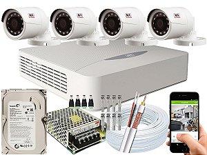Kit CFTV JFL 04 Câmeras CHD-1230P e DVR de 04 Canais DHD-2104N 500GB