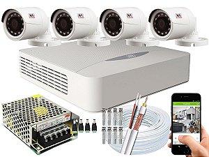 Kit CFTV JFL 04 Câmeras CHD-1230P e DVR de 04 Canais DHD-2104N Sem HD