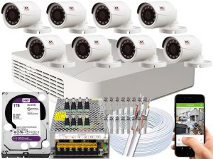 Kit CFTV JFL 08 Câmeras CHD-1230P e DVR de 08 Canais DHD-2108N 1TB WD Purple