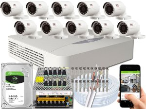 Kit CFTV JFL 10 Câmeras CHD-1230P e DVR de 16 Canais DHD-2116N
