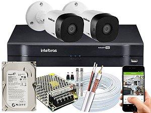 Kit CFTV Intelbras 02 Câmeras VHD 1010 B G5 e DVR de 04 Canais MHDX 1104 500GB 5A