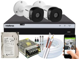 Kit CFTV Intelbras 02 Câmeras VHD 1120 B G5 e DVR de 04 Canais MHDX 3104 500GB 5A
