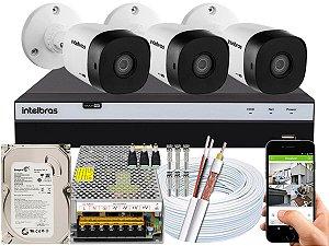 Kit CFTV Intelbras 03 Câmeras VHD 1120 B G5 e DVR de 04 Canais MHDX 3104 500GB 10A