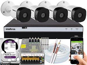 Kit CFTV Intelbras 04 Câmeras VHD 1120 B G5 e DVR de 04 Canais MHDX 3104 1TB WD Purple 10A